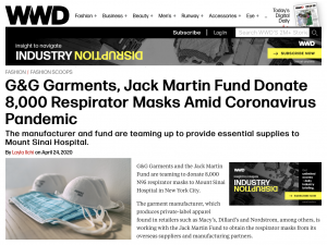 Image of WWD Website article about G&G Garments